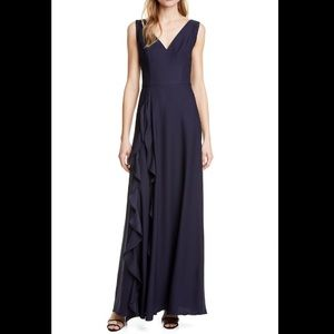 Ted Baker Navy Ruffle Cascade Maxi Gown Dress SZ 6